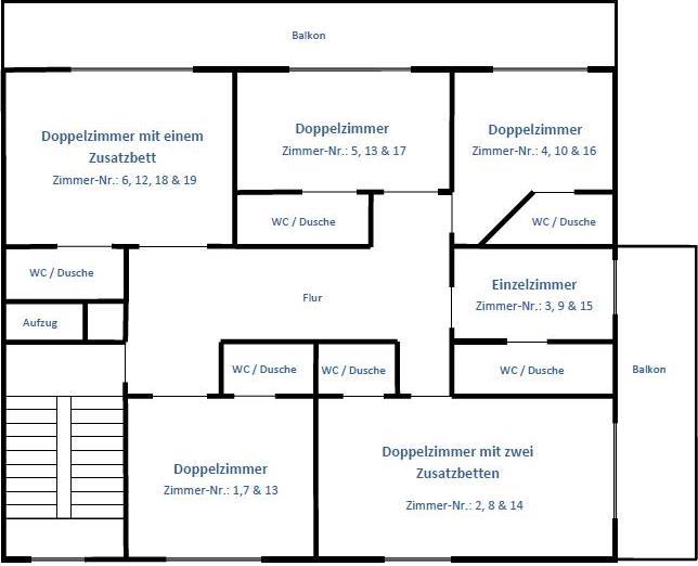 Grundriss 1.-3. Stock